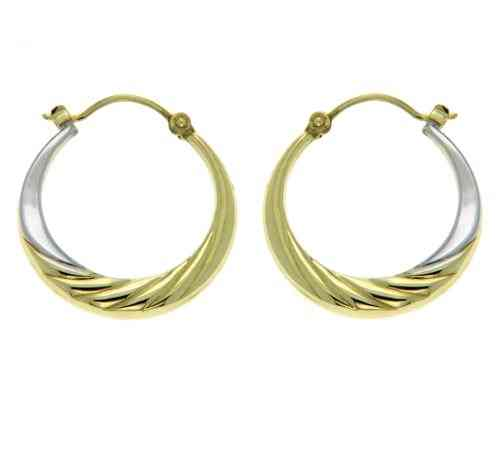 Creole, 20mm,  bicolor 333 Gold 8Kt