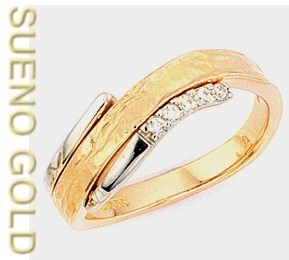 SUENO GOLD  Damen Ring, Brillanten, 0,075 ct  teilgehämmert,  585  Gold