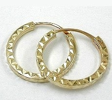 Creole, 15mm, Vierkant diamantiert 375 Gold 9Kt