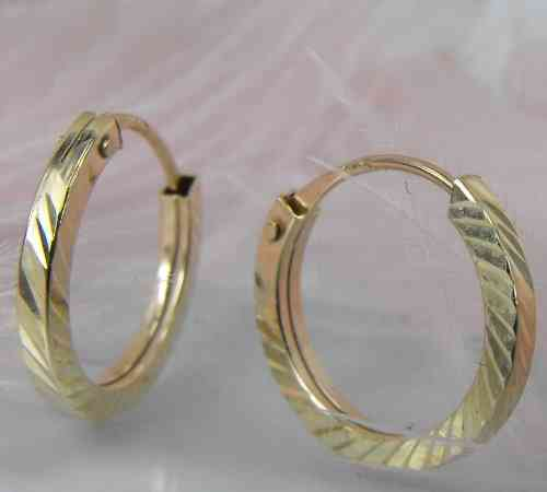 Creole, 13mm, Ohrringe Vierkant diamantie. 375 Gold 9Kt