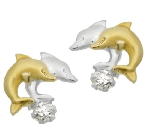 Ohrstecker 925 Silber bicolor, Ohrringe Delfin-paar mit Zirkonia (18)
