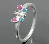 Kinderring Schmetterling  Ring  pink-blau  925 Silber