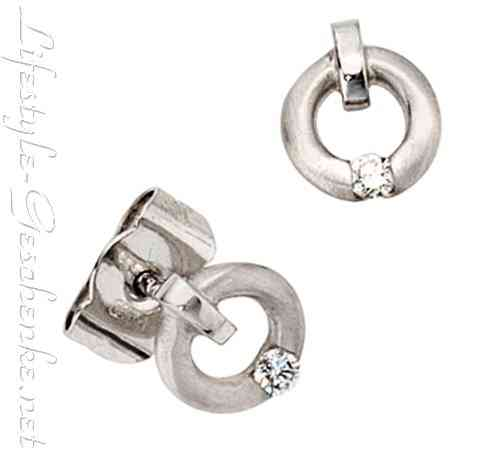 Ohrstecker 950 Platin mattiert, 2 Brillanten, 0,03 ct.