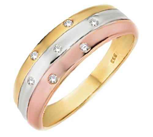 Damenring tricolor 7 Brillanten, 0,10 ct. Ring  333 GOLD