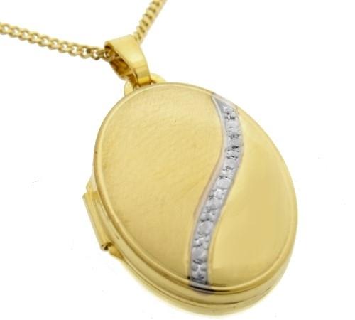 03 MEDAILLON Anhänger oval 333 Gold Amulett für 2 Bilder
